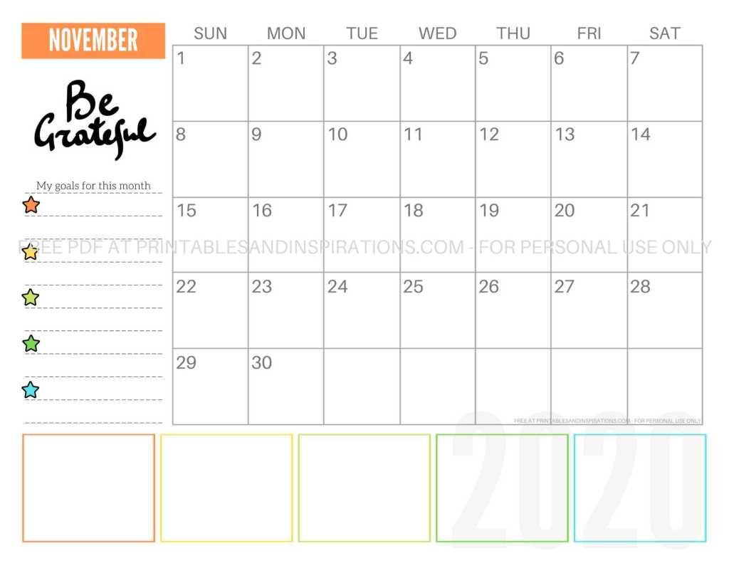 Free Printable November 2020 Calendar PDF #freeprintable #printablesandinspirations #motivationalquotes #stars #reachforthestars