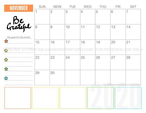 Free Printable November 2020 Calendar PDF #freeprintable #printablesandinspirations #motivationalquotes #stars #reachforthestars