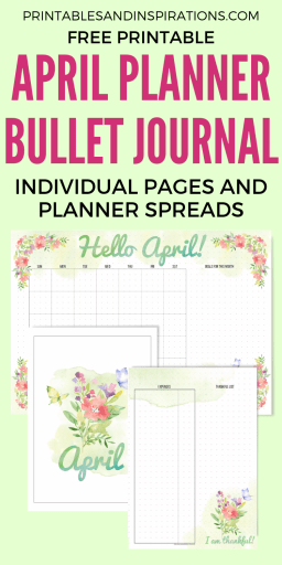Free Printable Bullet Journal For April! April bullet journal layout, monthly theme, weekly spread, dot grid paper, and habit tracker. #bulletjournal #bujoideas #freeprintable #printableplanner #printablesandinspirations