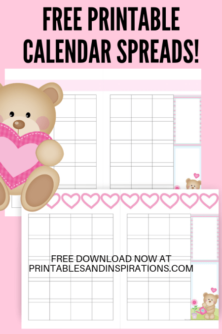 Calendar In Two Pages -Cute bears valentine theme! Bullet journal printables with monthly covers, calendar spread, weekly planners and dotted grid paper. Free printable planner pages! #bulletjournal #bujo #bujoideas #bujomonthly #weeklyspread #printableplanner #freeprintable #printablesandinspirations
