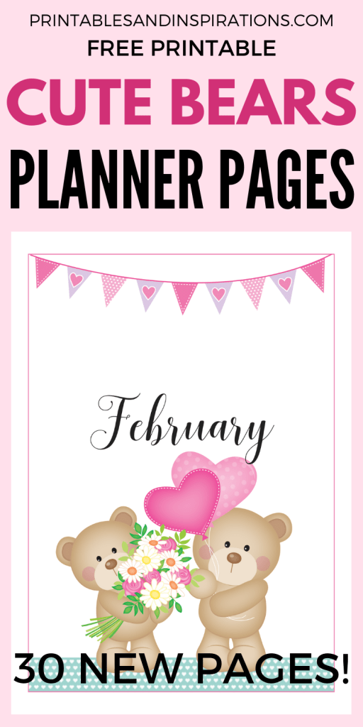Free Printable Planner - Cute bears theme! Free printable monthly cover, calendar spread, weekly planners and dotted grid paper and more printable planner pages! #bulletjournal #bujo #bujoideas #bujomonthly #weeklyspread #printableplanner #freeprintable #printablesandinspirations