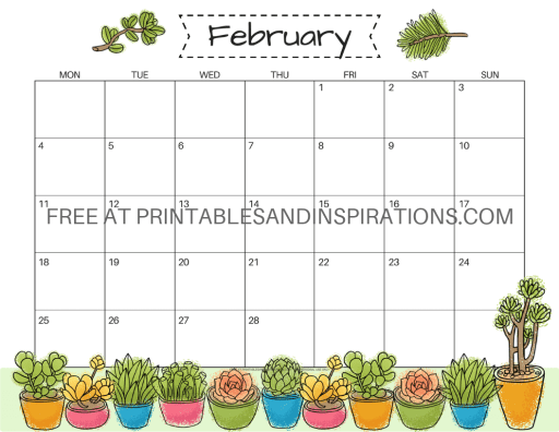 February 2019 Calendars Free Printable Planner -  Sunday or Monday start monthly calendars with cute and pretty designs plus Valentine printables. #valentinesday #freeprintable #printableplanner #printablesandinspirations