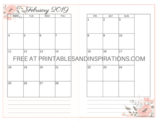 February 2019 Calendars Valentine Printables Printables And