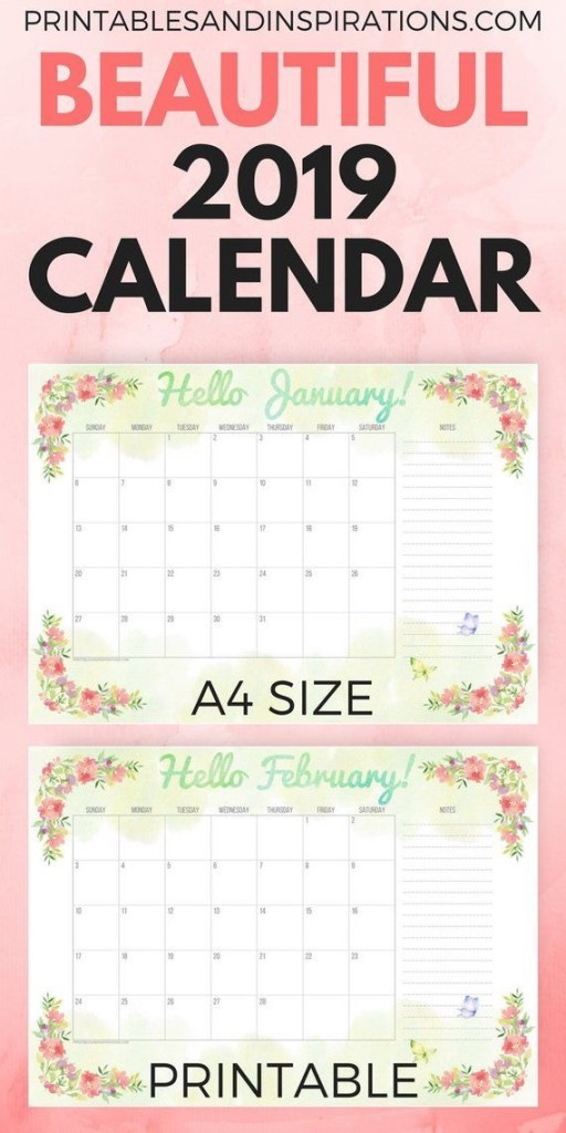 2019 calendar printable with watercolor flowers