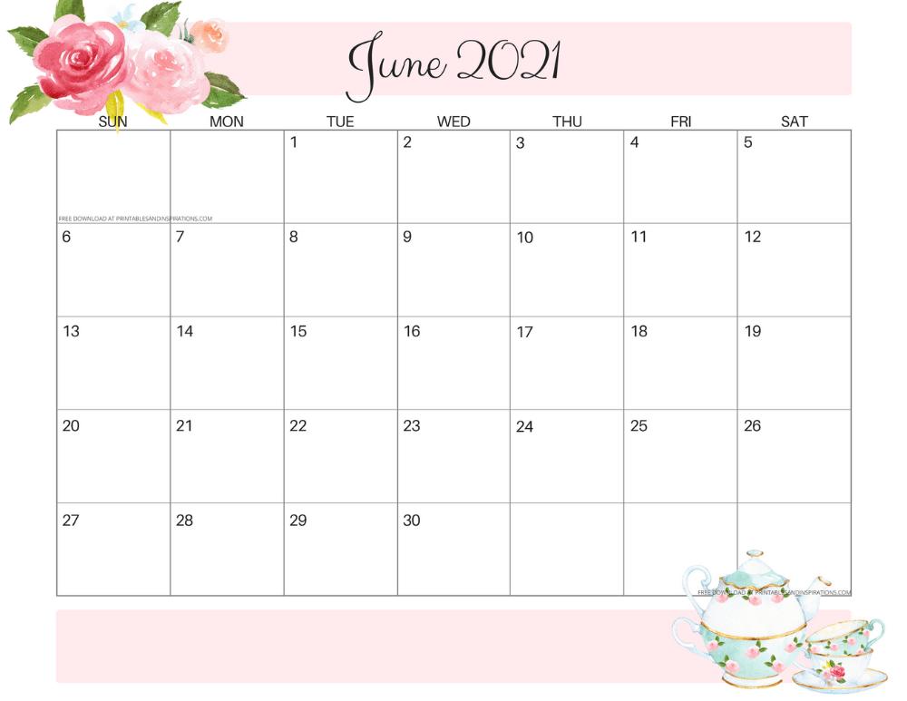 June 2021 calendar floral -free printable PDF #printablesandinspirations