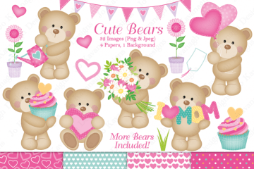 Cute bears clip art