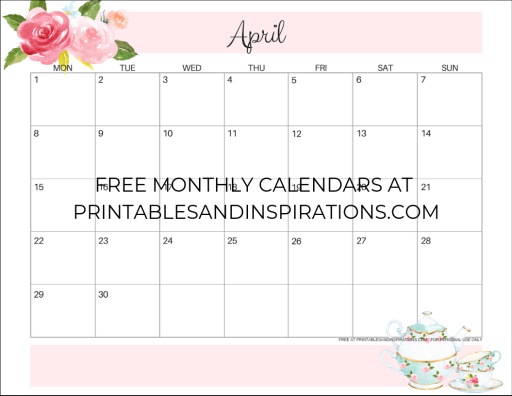 April 2019 calendar printable monthly planner, free printable floral calendar #freeprintable #printablesandinspirations