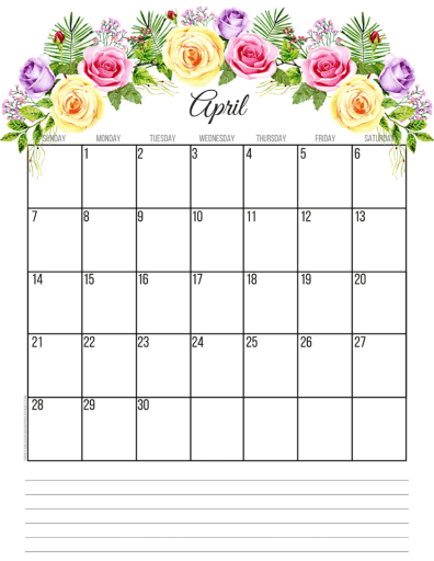 Free April 2019 calendar printable monthly planner, free printable floral calendar #freeprintable #printablesandinspirations