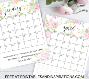 Free Bible Verse Calendar Printable For 2019! Free printable planner with Bible verses, plus monthly calendar template so you can write your favorite quote. With Monday calendar version. Free download now! #freeprintable #Bibleverses #printablesandinspirations
