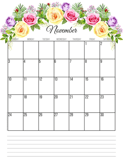 November 2019 calendar printable monthly planner, free printable floral calendar #freeprintable #printablesandinspirations