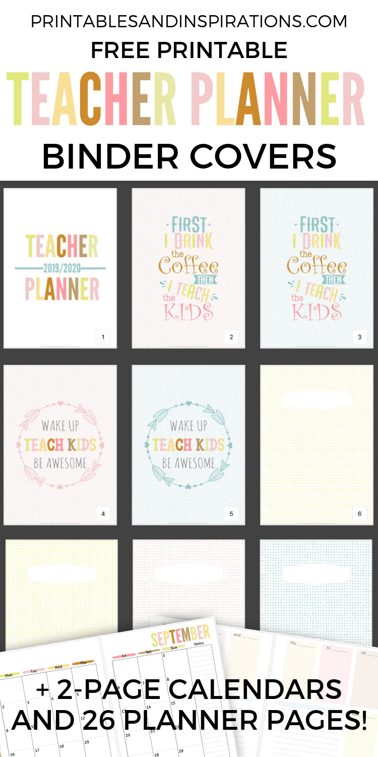picture regarding Planner Cover Printable called Totally free Trainer Planner Printable 2019 - 2020 - Printables and