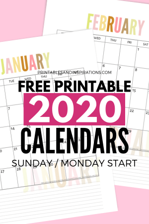 Free 2020 Calendar Printable Monthly Planner PDF Download. Get your free printable 2020 calendar now! #freeprintable #printablesandinspirations #2020calendar
