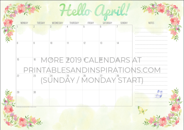 Free April 2019 calendar free printable monthly planner