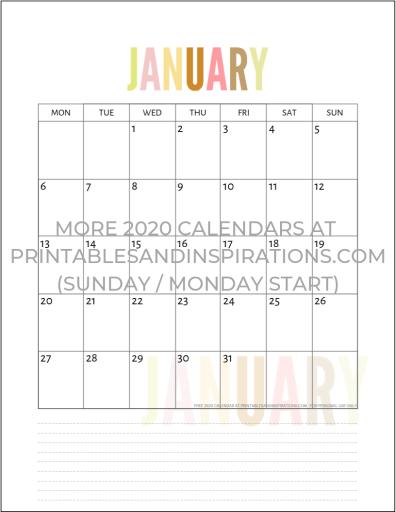 January 2020 Calendar Printable Monthly Planner PDF Download #freeprintable #printablesandinspirations #2020calendar