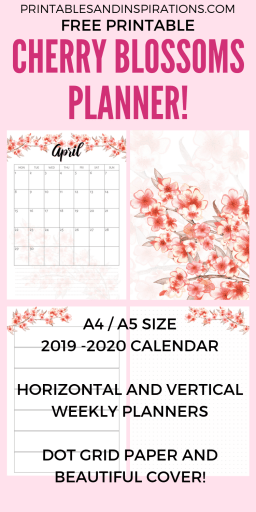 Free Printable Cherry Blossoms Planner Pages With Calendar For 2019 2020! With free weekly planners, dot grid paper and free sakura planner stickers. Free PDF download now! #freeprintable #printablesandinspirations #diyplanner #plannerstickers #bulletjournal