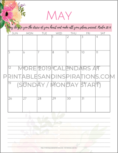 Free Printable May 2019 Calendars PDF - monthly calendar planner with flowers. Free download now! #freeprintable #printablesandinspirations