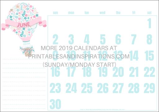 Free Printable June 2019 Calendar PDF - with hot air balloon. Free download now! #freeprintable #printablesandinspirations