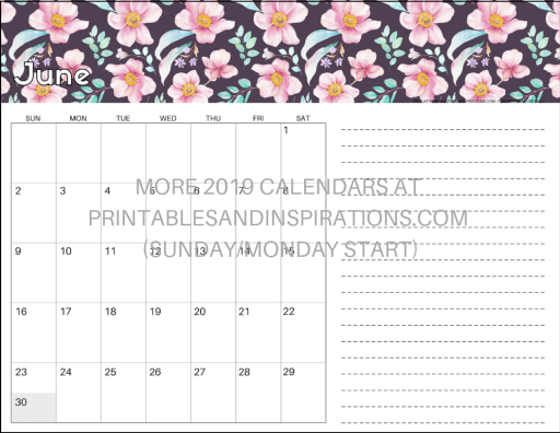 Free Printable June 2019 Calendar PDF - with space for notes and floral design. Free download now! #freeprintable #printablesandinspirations