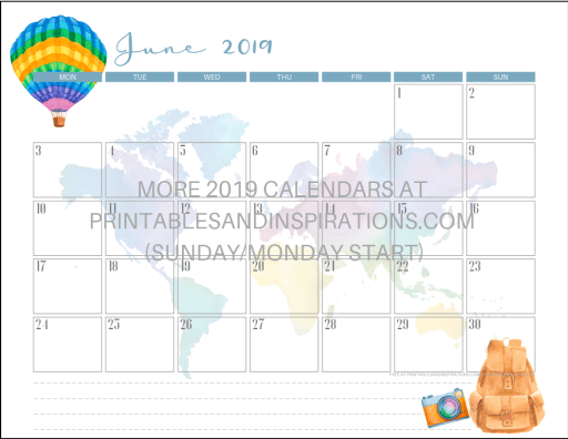 Free Printable June 2019 Calendar PDF - travel themed design calendar for men and women. Free download now! #freeprintable #travel #printablesandinspirations