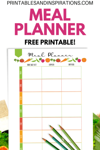 Free Meal Planner - printable weekly meal planner template to help you prepare food for you and your loved ones. Download the free pdf now! #mealplanner #healthyliving #freeprintable #printablesandinspirations