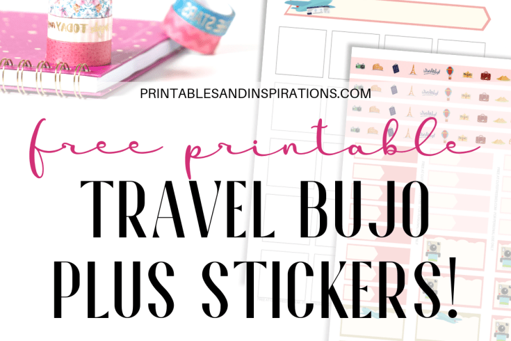 Free Travel Bullet Journal Printable Planner And Stickers! This bullet journal layout includes printable stickers, calendar spread, monthly title page, weekly spread and more. #bulletjournal #travel #wanderlust #bujomonthly #printablesandinspirations #freeprintable