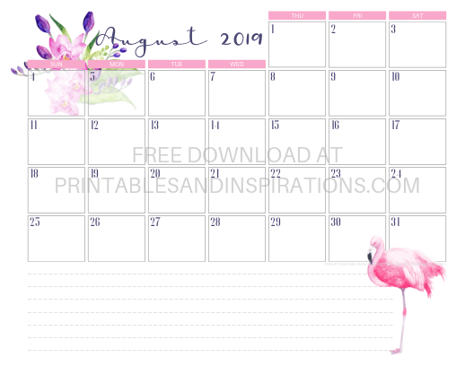 August 2019 Flamingo Calendar Printable #flamingo #freeprintable #pink #printablesandinspirations