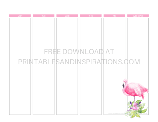 Flamingo weekly planner free printable - works with Happy planner and Erin Condren stickers. #flamingo #freeprintable #printablesandinspirations