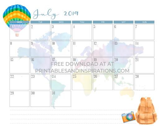 July 2019 calendar free printable with travel theme and map. #freeprintable #printablesandinspirations #wanderlust #travel