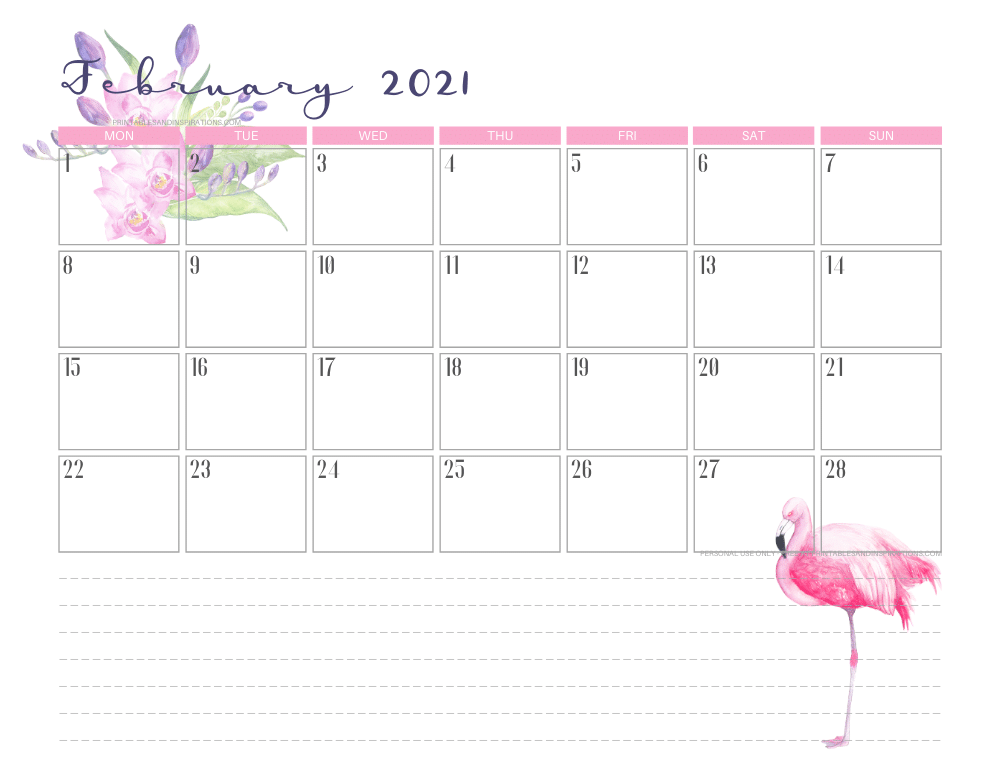 February 2021 calendar free printable - 2021 calendar with flamingo #freeprintable #printablesandinspirations #2021calendar #flamingo