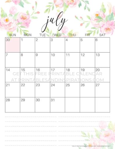 July 2019 calendar free printable pink. #freeprintable #printablesandinspirations