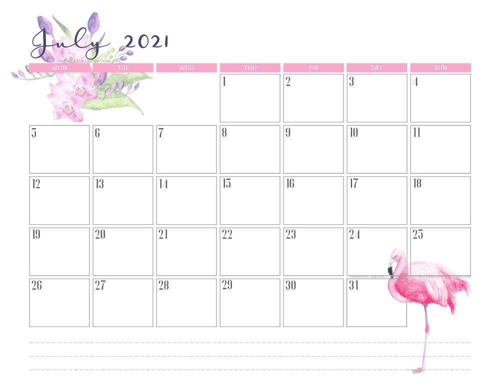 July 2021 calendar free printable - 2021 calendar with flamingo #freeprintable #printablesandinspirations #2021calendar #flamingo