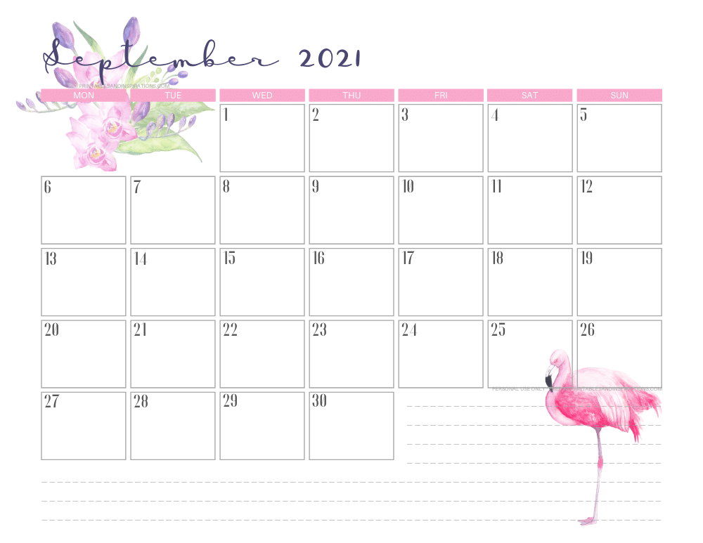 September 2021 calendar free printable - 2021 calendar with flamingo #freeprintable #printablesandinspirations #2021calendar #flamingo
