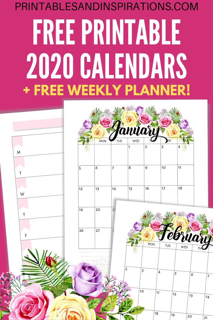 photo relating to Floral Printable known as Cost-free Printable 2020 Calendar With Bouquets - Printables and