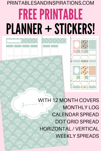 DIY Planner Printables For Any Year! Choose from 40+ pretty planner templates or planner kits. #freeprintable #diyplanner #plannerlover #printablesandinspirations