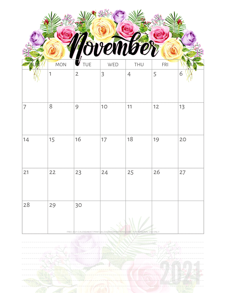 November 2021 pretty calendar printable - go to the previous post to download the PDF file #printablesandinspirations