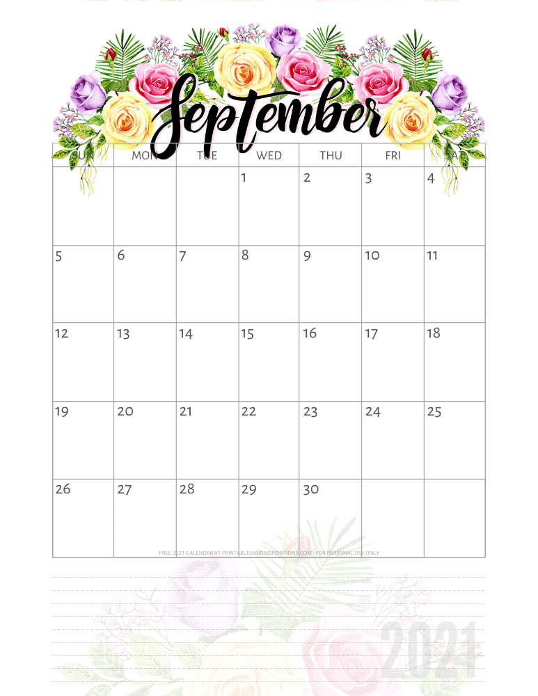 September 2021 pretty calendar printable - go to the previous post to download the PDF file #printablesandinspirations