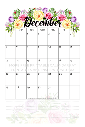 Free Printable 2020 Calendar With Flowers - Printables and ...