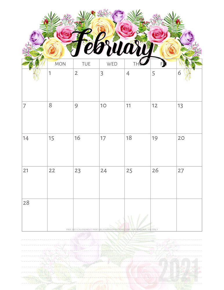 February 2021 pretty calendar printable - go to the previous post to download the PDF file #printablesandinspirations