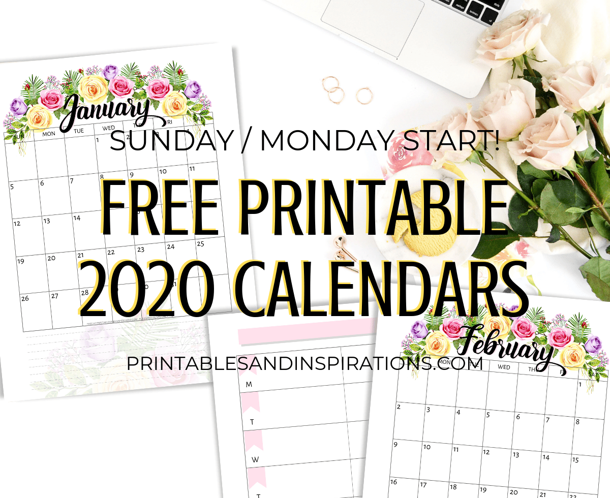 Free Printable Calendar With Flowers