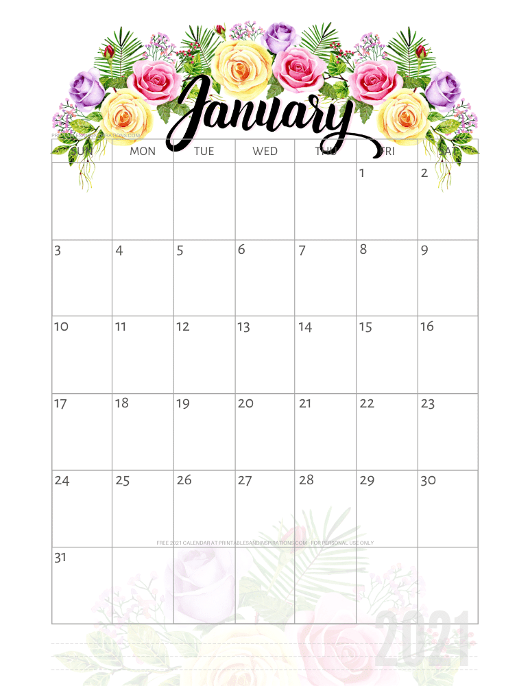 January 2021 pretty calendar printable - go to the previous post to download the PDF file #printablesandinspirations