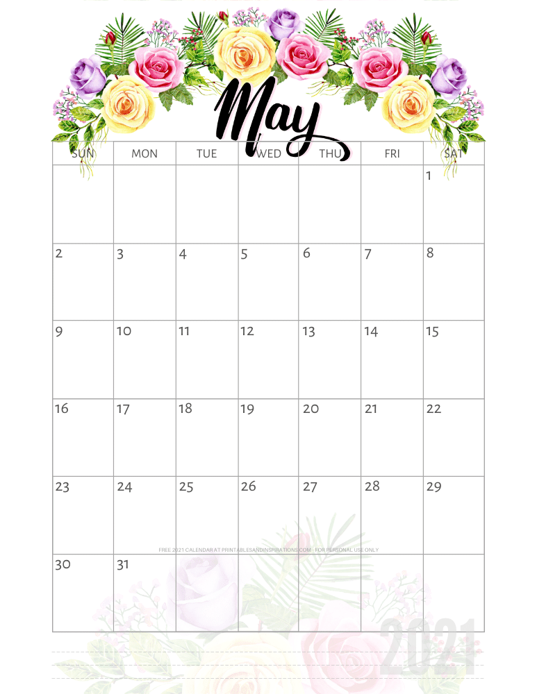 May 2021 pretty calendar printable - go to the previous post to download the PDF file #printablesandinspirations