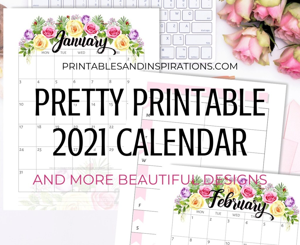 Free Printable 2021 Calendar - pretty monthly calendar for 2021 plus weekly planner. Get your downloadable pdf now! #freeprintable #printablesandinspirations