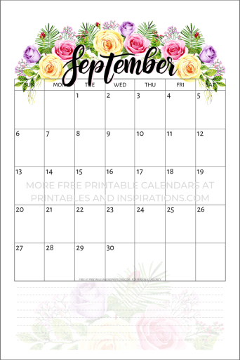 Free Printable 2020 Calendar With Flowers Printables And