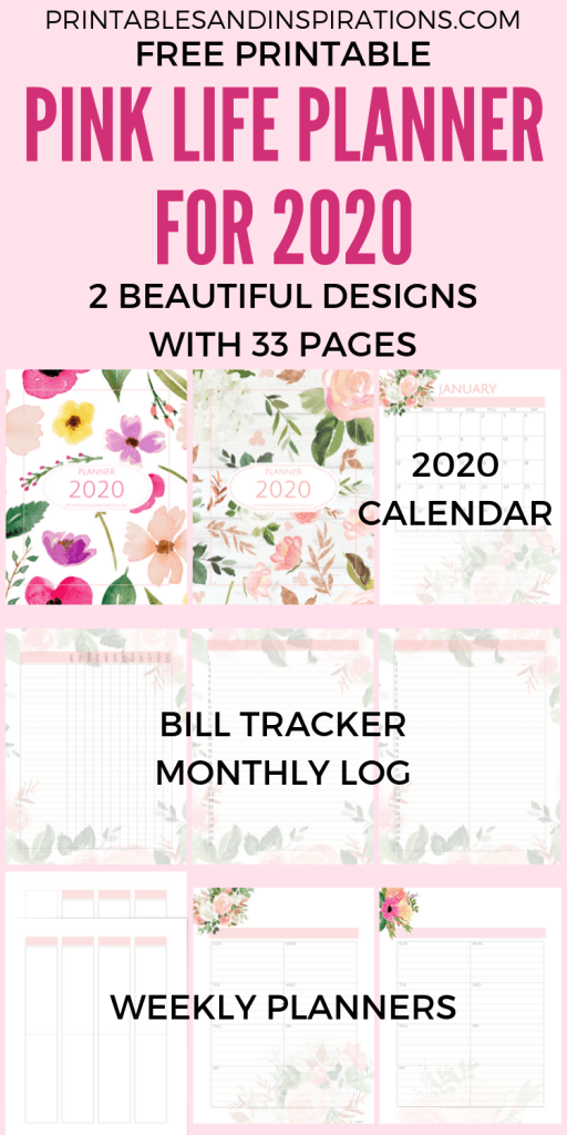 Free Printable 2020 bullet journal pages - Pink life planner 2020 calendar, bill tracker, monthly log and weekly planner. #freeprintable #printablesandinspirations #pink #bulletjournal #planneraddict #plannerlover