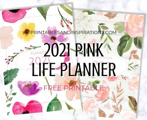 Free Printable Pink Life Planner 2021 - with 2021 calendar and more planner pages. Get your free pdf download now! #freeprintable #printablesandinspirations #pink #planneraddict #plannerlover #bulletjournal