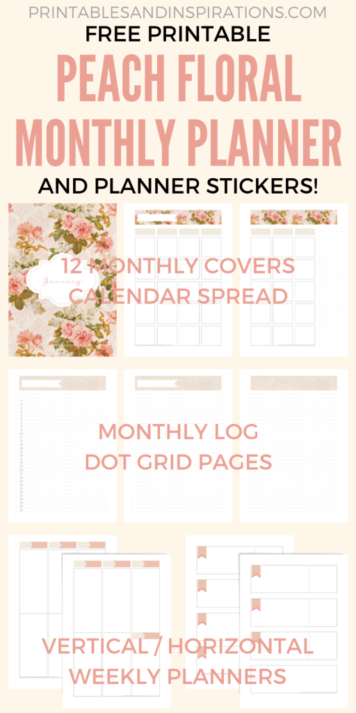 Free Printable Monthly Planner, Stickers And Bullet Journal Pages - Fall planner stickers, Erin Condren and Happy Planner stickers, free printable weekly planner in horizontal and vertical layout. #freeprintable #fall #peach #floral #printablesandinspirations #plannerstickers #planneraddict #bulletjournal #bujo
