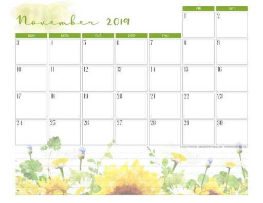Free printable November 2019 calendar pdf with sunflower.