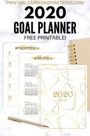 Free Printable 2020 Goal Setting Planner PDF - best goal setting journal for your DIY planner, goals planner, passion planner. #freeprintable #printablesandinspirations #goalsetting #diyplanner #planneraddict