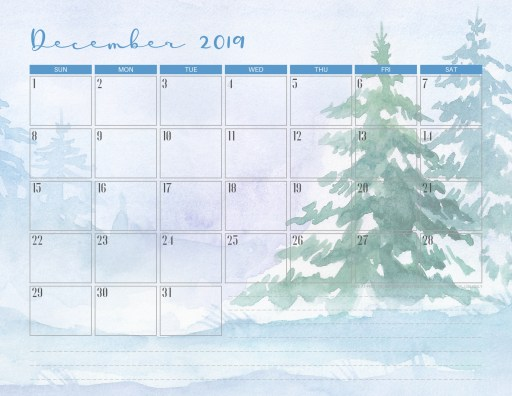 Free Printable December 2019 Calendar PDF - Printables and ...