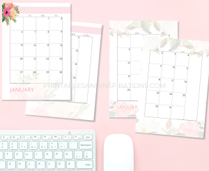 2020 Two page calendar spread in pink and blush - get your free download now! #freeprintable #printablesandinspirations #pink #lifeplanner